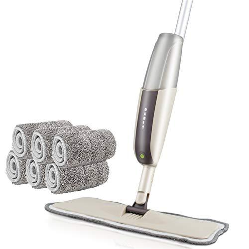 Fregona del piso de pulverización con las almohadillas de microfibra reutilizables 360 grados mango de trapeador para la cocina de la cocina laminada laminada de madera azulejos de cerámica limpieza d