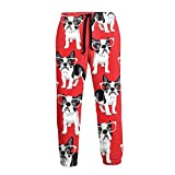 French Bulldog Mens Jogger Sweatpants, Close Bottom Sports Long Pants with Drawstring and Pockets, S-3xl White