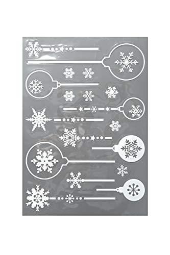 HEITMANN DECO Fensterbilder - Fensterdekoration selbstklebend Weihnachtskugeln - Weihnachtsdeko Advent - Weiß