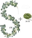 E-Bestar Eukalyptus Girlande Künstlich Pflanz Greenery Künstliche Leaf Hochzeit Home Dekoration Zubehör Wand Dekoration (1 Pack)