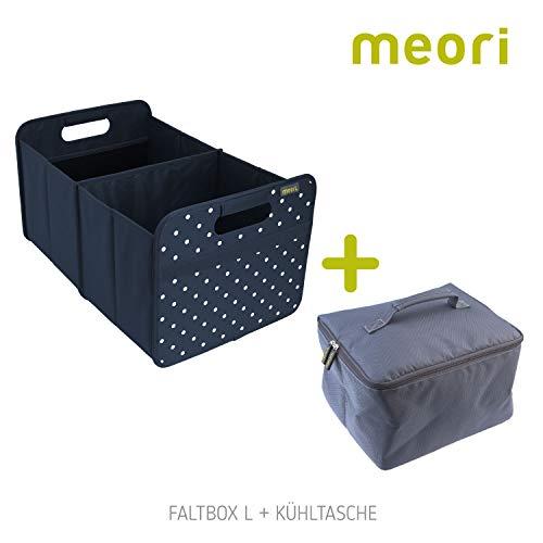 Meori Classic Large Marine Blau/Punkte + Kühltasche 32x50x27,5cm stabil, abwischbar Polyester Shopper Transportkiste Verstauen Einkaufen Einkaufskorb Premium Qualität Faltbox