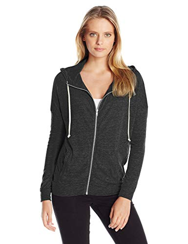 Alternative Women's Jersey Cool Down Zip Hoodie Sweatshirt, Eco True Black, Medium