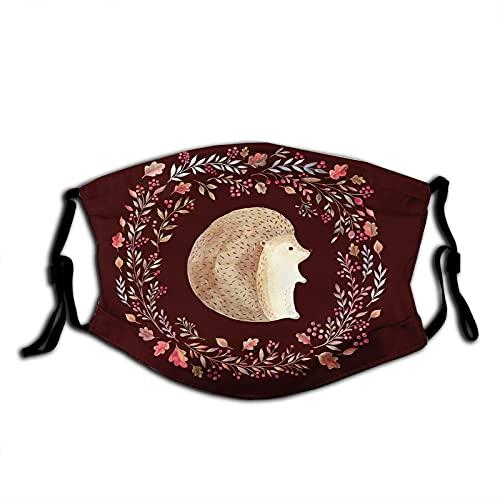 FULIYA Mascarillas faciales reutilizables para mujeres y hombres, estilo acuarela animal con hoja de bosque salvaje y corona de bayas, 12 x 19 cm, tamaño mediano, unisex adulto