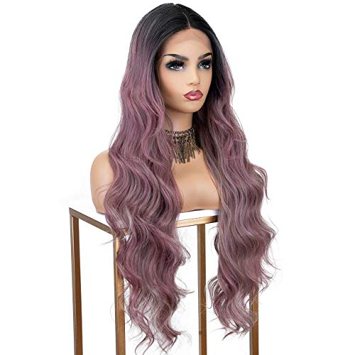 K'ryssma 26 inch Ash Purple Lace Front Wig Ombre Black Roots Long Wavy Synthetic Wig with Deep Middle Parting Purple Ombre Wigs for Women