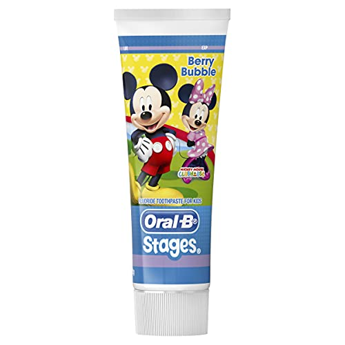 Oral-B Stages Mickey Mouse Berry Bubble Fluoride Toothpaste for Kids, 92G