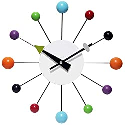 Infinity Instruments Orb Spoke Midcentury Modern 15 inch Retro Starburst Ball Wall Clock Quiet Quartz Movement Mid Century Decorative, Multi