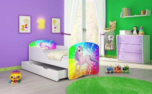 Letto per bambino Cameretta per bambino con materasso Cassetto ACMA I (18 Il pony arcobaleno, 180x80 + Cassetto)
