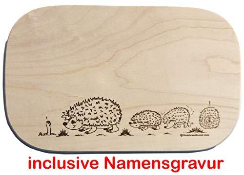Frühstücksbrettchen 26 x 15 x 1,4 cm Holz Igel Igelfamilie Gravur Holzbrettchen aus Einem Stück incl. Name Vesperbrett Brotzeitbrett Jausenbrett