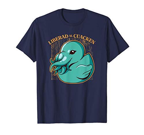 Liberad Al Cuacken Patito Kraken Divertido Camiseta