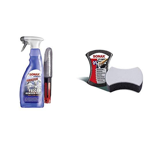 SONAX Xtreme Felgenreiniger Plus säurefrei (750ml) Felgenbürste- effiziente Reinigung Aller Leichtmetall- & Stahlfelgen sowie verchromte Felgen & 428000 04280000 MultiSchwamm D/GB/F/NL/I/E