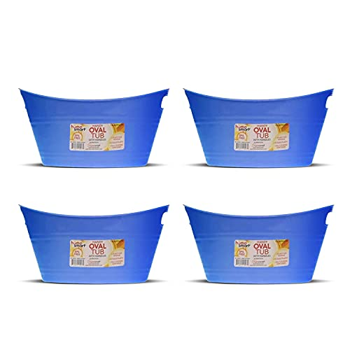 Oval Plastic Storage Tubs With Handle - Small Size: (12.8' X 9' X 6.3') - Beverage And Ice Bin (blue Pack Of 4)