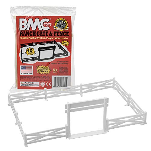 BMC Classic Marx Farm Ranch Fence & Gate - White 10pc Plastic Playset Accessory