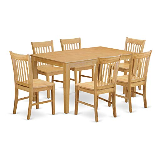 East West Furniture Wooden Dining Table Set 7 Pc - Wooden Chairs Seat - Oak Finish Kitchen Table and Structure