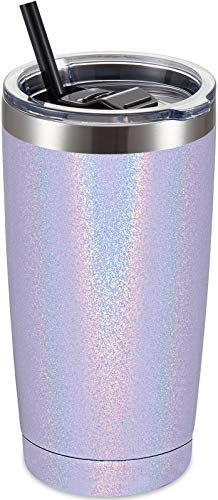 ALOUFEA 20oz Stainless Steel Tumbler with Lid and Straw, Vacuum Insulated Tumbler Cup, Double Wall Coffee Tumbler, Powder Coated Travel Coffee Mug, Glitter Lavender