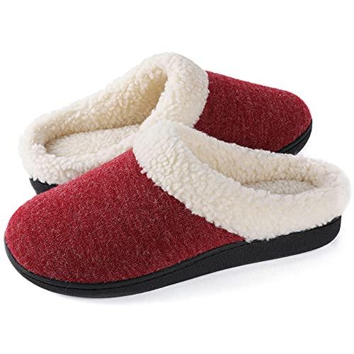 Wishcotton Zapatillas acogedoras de espuma viscoelástica para mujer, con forro polar de felpa suave y forro polar cálido, para interiores y exteriores, suela de goma antideslizante
