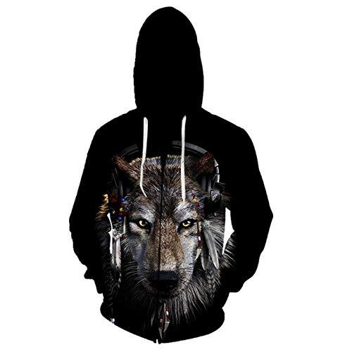 Wolf Print Zip Hoodie Hoodie Herren Damen Langarm Kordelzug Kapuzenpullover Sweatshirt mit großen Taschen Gr. XXS, Lls-2677