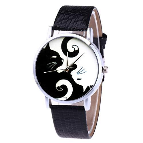 Doingshop Frauen Armbanduhren Rundes Muster Der Einzigartigen Schwarzen Katze Der Persönlichkeit Glänzende Einfarbige Silikonuhr