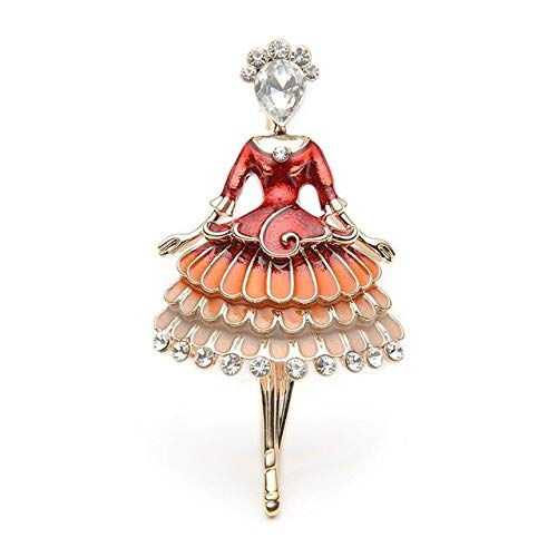 DFHTR Rote Emaille Prinzessin Fee Brosche Ballett Mädchen Bankett Kleid Anzüge Schal Frauen Broschen Pin Größe 5,7 * 3,4 cm Kleidung Zubehör