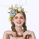 Diadema de flores para cosplay corona corona floral boda guirnalda boda festivales foto accesorios ramita diadema de cuerno, lindo conejo diadema, regalo de San Valentín sombrero de Pascua