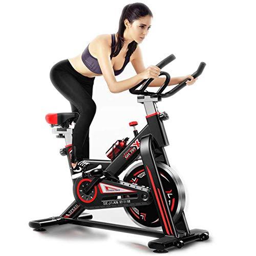 Bicicleta estática de entrenamiento para interiores y fitness, altura regulable, con pantalla LCD, dispositivo de entrenamiento, asiento cómodo para el gimnasio en casa, color negro, 105 x 50 x 102 cm