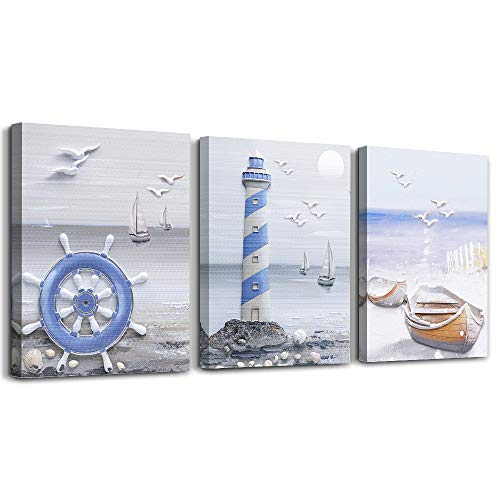 Marine Theme Canvas Wall Art Paintings for Living Room farmhouse Wall Artworks office Bedroom Decoration The Lighthouse and Boat Pictures Home Bathroom Wall Decor Posters , 12x16 inch/Piece, 3 Panels