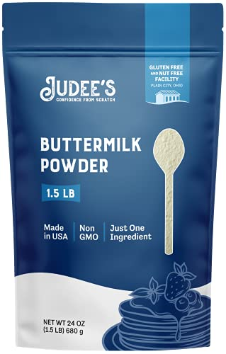 Judee's Buttermilk Powder 1.5lb (24oz) - 100% Non-GMO, Gluten-Free & Nut-Free - Perfect for Pancakes, Fried Chicken and More - Made in USA - Use in Baking or Make Liquid Buttermilk
