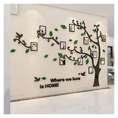 Home decoration Wall Stickers Tree Photo Frame 3D Acrylic Mirror Wall Decals For Sofa TV Background Wall Decor DIY Family Photo Frame Stickers (Color : Dark green RIGHT, Size : L)