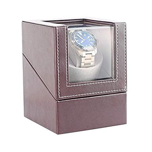 XXSHN Bobinadoras de Relojes Caja automática de bobinadoras de Relojes para 1 Reloj de Pulsera Relojes de Cuero Impermeables Caja de bobinado Rotación Ultra silenciosa Giros por día Marrón