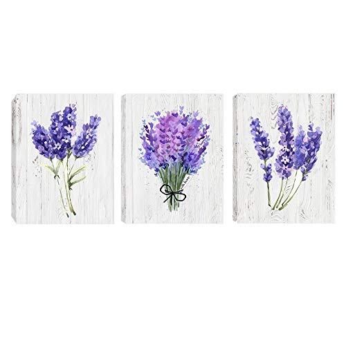 gold mi Flowers Home Decorations 3 Panels Lavender Flower Artwork for Living Room Office Bathroom Wall Decor Posters and Prints Frame to Hang (Lavender-2, 1216inch)