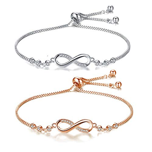 Hongyantech 2 Stück Infinity Unendlichkeit Symbol Damen Armband Damen Armband Armkette Gliederarmband Partnerarmbänder Silber und Roségold Freundschaftsband