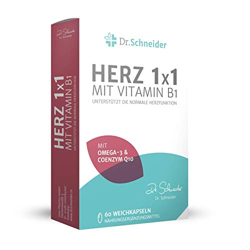 Dr. Schneider Herz 1x1 mit Vitamin B1 ● 2-Monats-Kur mit Omega-3-Fettsäuren (EPA/DHA) ● Vitamin E, B6, B12 ● Magnesium, Folsäure & Q10 ● 60 Kapseln