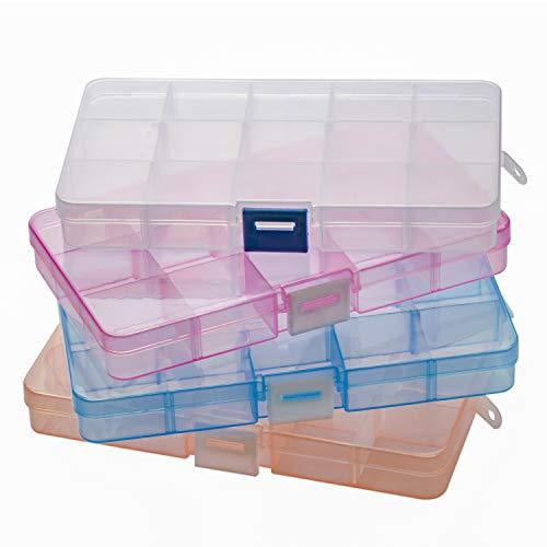 Snowkingdom, scatola portaoggetti in plastica trasparente, contenitore per riporre collezioni con divisori regolabili, plastica, Trasparente, 4 *15 Grid