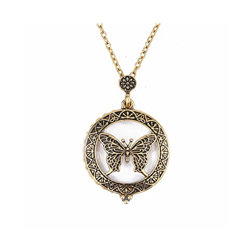 wufeng Collar de Cadena Insecto de la Mariposa Hueco de los Colgantes del Lupa Mujeres Largo Lupa