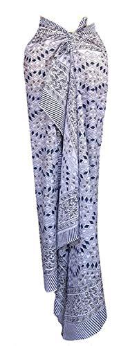Rastogi Handicrafts 100% Cotton Hand Block Print Sarong Womens Swimsuit Wrap Cover Up Long (73' x 44') (Blue 8)