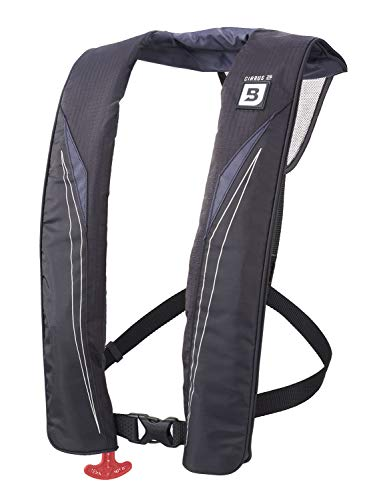 BLUESTORM Gear Cirrus26 Inflatable PFD Life Jackets (Black) for Adults   US Coast Guard Approved Automatic Life Vest w Manual Override Convertibility
