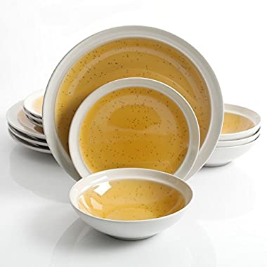 Gibson Elite Clementine 12-Piece Dinnerware Set Service for 4, Yellow Reactive Glaze