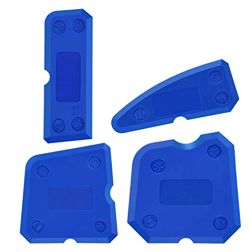 Aplicador Silicona,XCOZU 4 Piezas De Azul Portátil Herramienta Juntas Silicona Kit Sellador,Multi-Borde Espatula Para Calafateo Silicona Caulking Tool Apto Para Baños De Cocina, etc.