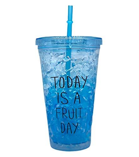 Bicchieri di plastica con Coperchio 16oz Acrilico Colorato Riutilizzabile Tazze con Coperchi e Cannucce Doppia Parete Coibentata Bicchieri di Plastica (Blu)