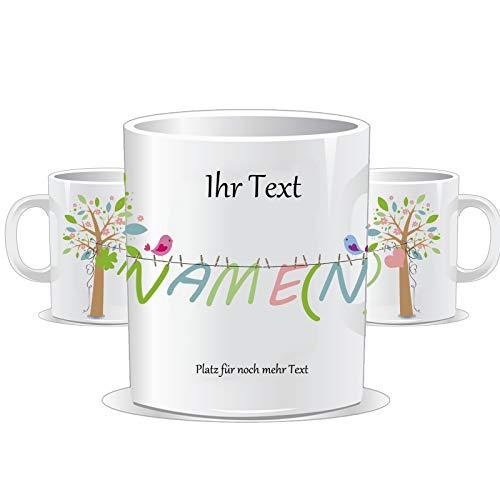 Tasse mit Name und individuellem Text/Text oben, unten und Name personalisierbar/Tassenfarbe wählbar