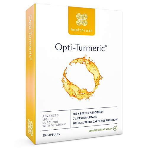 Opti-Turmeric | Healthspan | 30 Capsules | As Seen on TV & The Daily Mail | Advanced Liquid Curcumin | 185 times better absorbed & 7 times faster acting than standard turmeric powder | Added Vitamin C