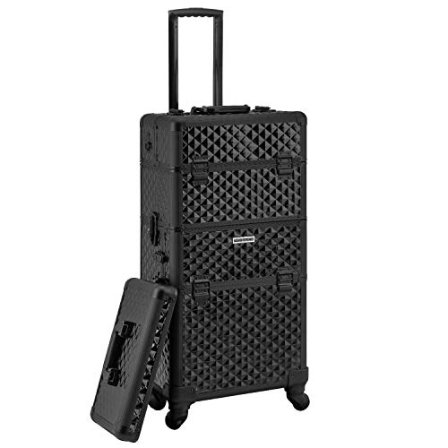 anndora 4 Rad Salon Makeup Trolley Pilotenkoffer Beauty Case komplett schwarz