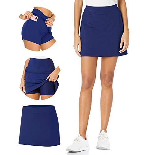 TAIPOVE Damen Tennisrock mit Tasche & Innenhose Hosenrock Stretch Skort, Blau, S