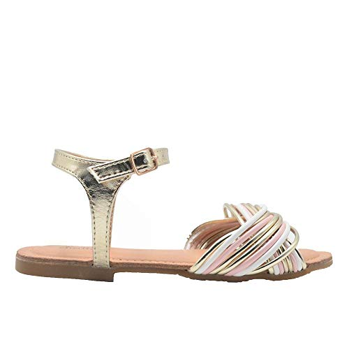 Chatties Ladies Fashion Sandals 9 M US Slingback Flats with Mixed Media Straps Gold
