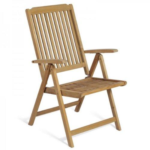 Élégant fauteuil à dossier haut avec accoudoirs pour le jardin en teck de qualité supérieure.