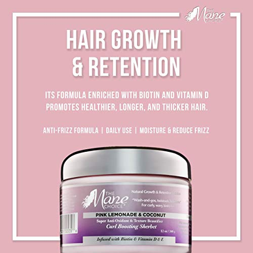 THE MANE CHOICE Pink Lemonade & Coconut Super Anti-Oxidant & Texture Beautifier Curl Boosting Sherbet - Enhance Your Curls With a Perfect Balance of Hold and Moisture (12 Ounces/354 Milliliters)