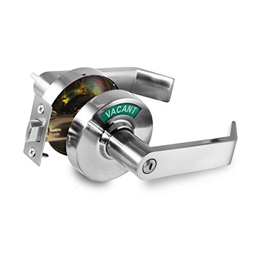 VIZILOK Privacy Indicator Lock and Lever C3FK, Large in-USE or Vacant Indicator, Commercial Grade, Perfect for Public restrooms Including Restaurants, Hospitals, Medical Offices. Satin Chrome.