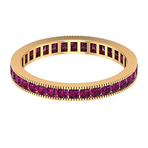 1 CT Rhodolite Wedding Band, Channel Set Eternity Band, Gold Milgrain Ring (1.8 MM Round Shaped Rhodolite), 14K Yellow Gold, Size:UK -1