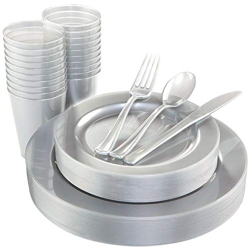WDF 25 Guest Silver Plates with Disposable Plastic Silverware&Silver Cups-Neon Plastic Dinnerware include 25 Dinner Plates,25Salad Plates,25Forks, 25 Knives, 25 Spoons,25 Plastic Cups
