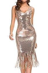 Rose Gold V-Neck Sequin Bodycon Stretchy Flapper Dress