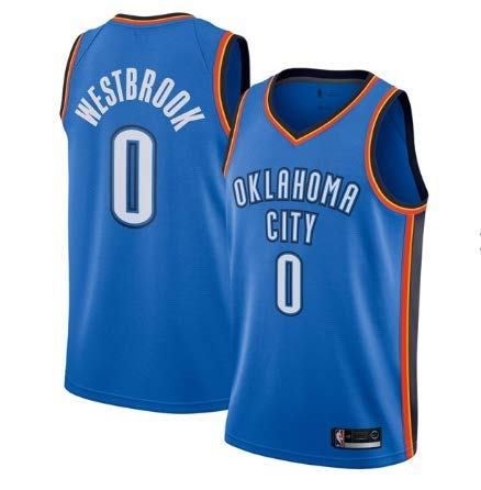 canottejerseyNBA Russell Westbrook - Oklhaoma City Thunder #0, City Edition - Earned Edition 2018 2019 Basket Jersey Maglia Canotta, Swingman Ricamata, Abbigliamento Sportivo (M, Azzurro)